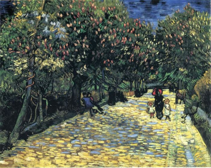 Avenue With Flowering Chestnut Trees