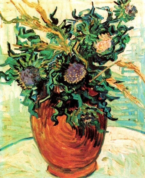 Still Life Vase With Flower And Thistles