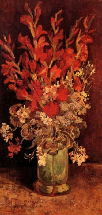 Vase With Gladioli And Carnations 1