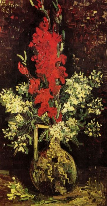 Vase With Gladioli And Carnations 2