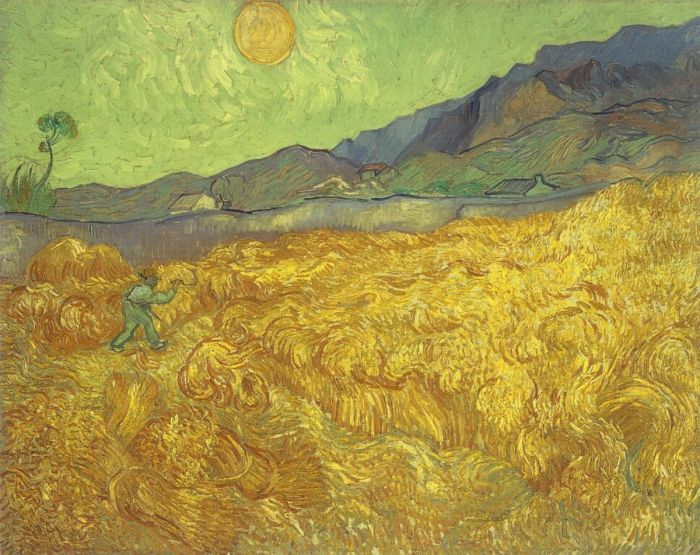 Wheat Field With Reaper And Sun