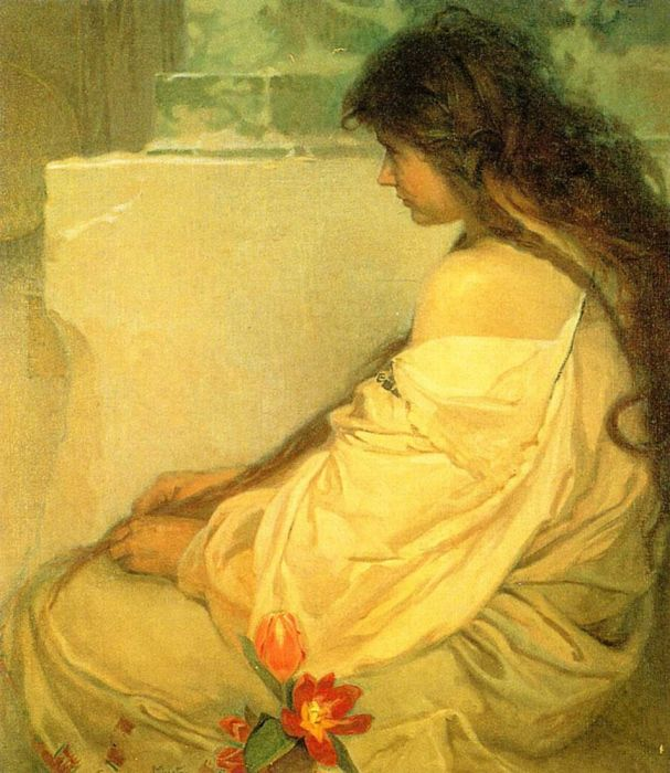 Girl With Loose Hair And Tulips. 1920