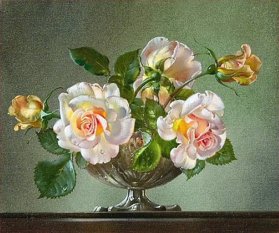 Painting of bowl of roses