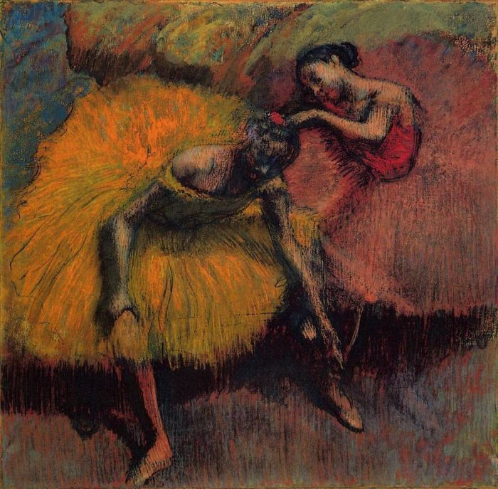 1900. Two Dancers in Yellow and Pink