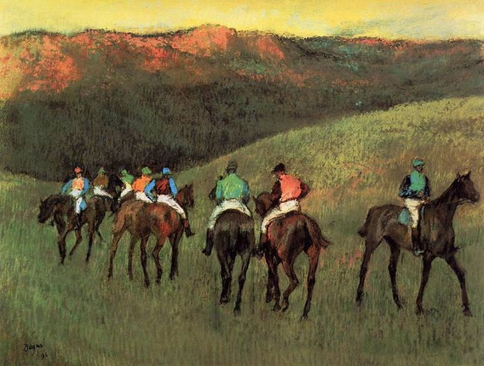 1894. Racehorses in a Landscape