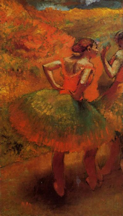 1894-1899. Two Dancers in Green Skirts, Landscape Scenery