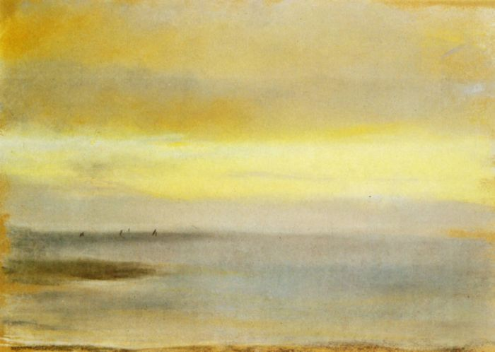 1869 - Marine, soleil couchant  Pastel sur papier jaune clair  Collection particuli?re