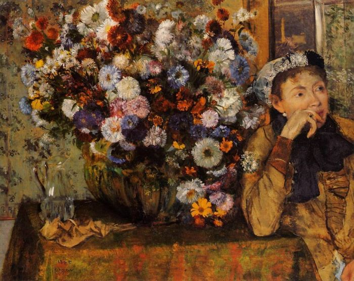 1865. A Woman Seated beside a Vase of Flowers (also known as sardela)