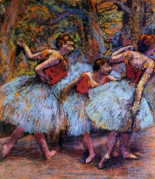 1903. Three Dancers, Blue Skirts, Red Blouses