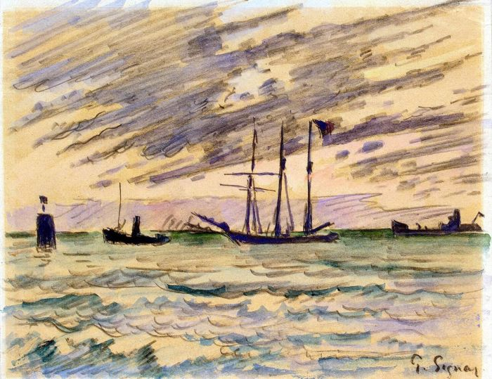 Harbor with Sailboat, Tugboat, and Barge, 1920