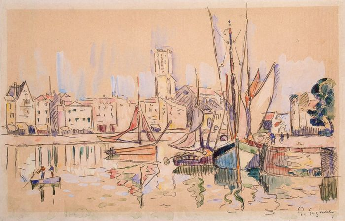 Sailboats at a Pier in Honfleur, 1920
