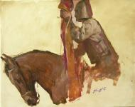 horses oldier with flag