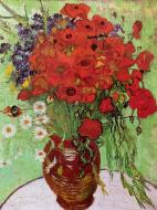 Still Life Red Poppies And Daisies