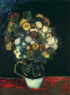 Still Life Vase With Zinnias