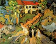 Village Street And Steps In Auvers With Two Figures