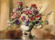 Anemones and other flowers in a china bowl