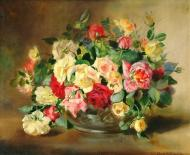 A STILL LIFE OF ROSES IN A BOWL
