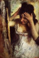 1877. Woman Combing Her Hair before a Mirror