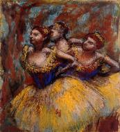 1896. Three Dancers. Yellow Skirts, Blue Blouses