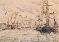 Sailboats with Holiday Flags at a Pier in Saint-Malo, 1920